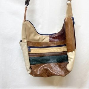 Vintage Leather Color Block Bag Made in Mexico